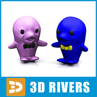 3d model baby toy rubber dolphins