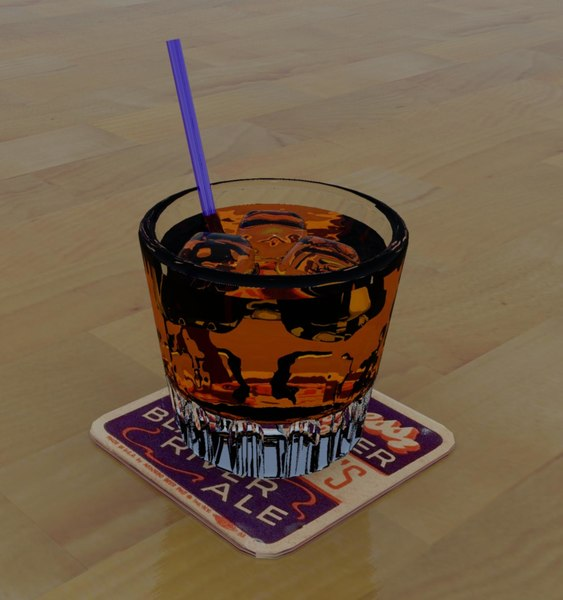 whiskey plastic straw 3d model