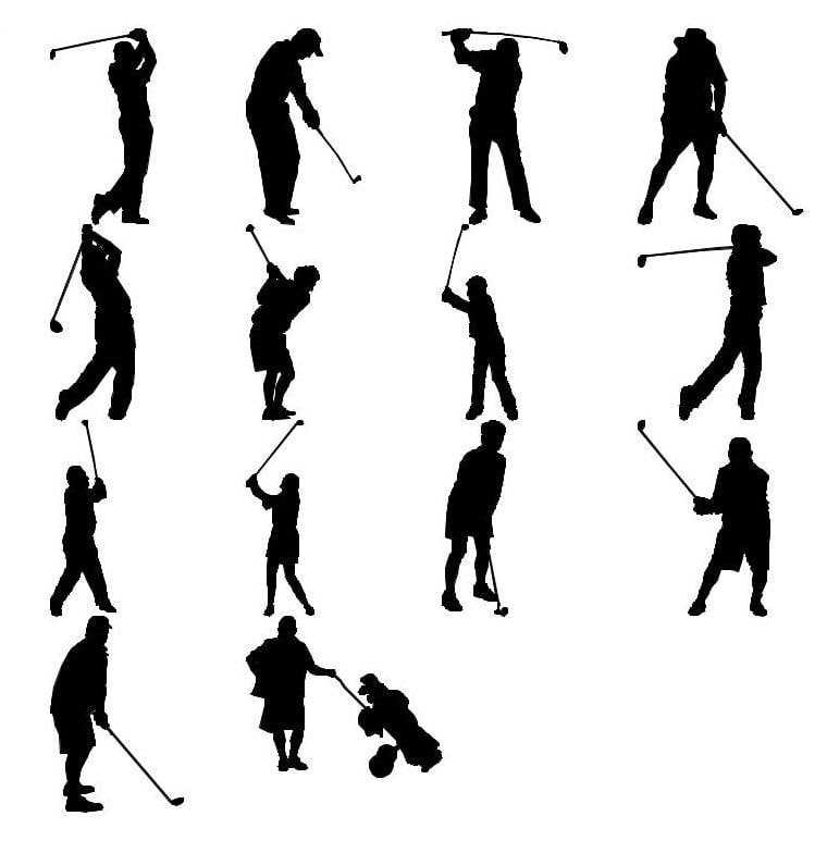 3d Golf Silhouettes Model