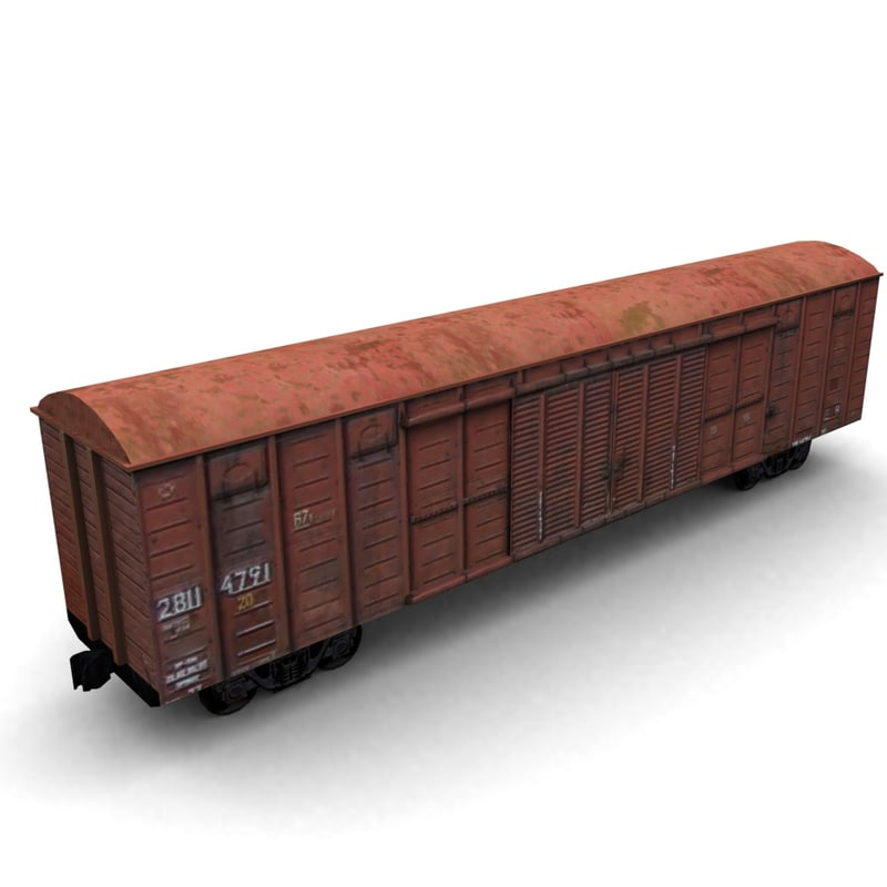 3ds max low-poly cargo wagon