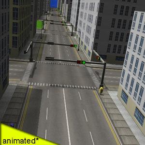 3d city buildings street
