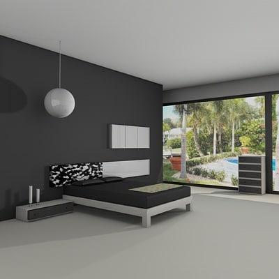bedroom set 3d dxf