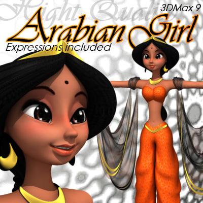 arabic girl expressions 3d model