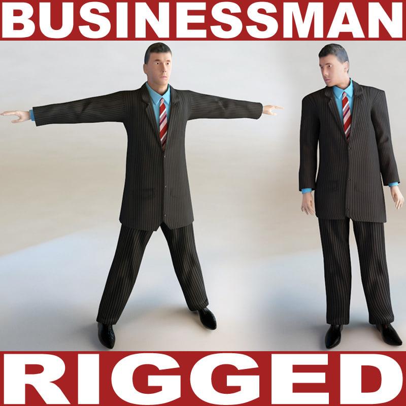 3dsmax businessman rigged biped