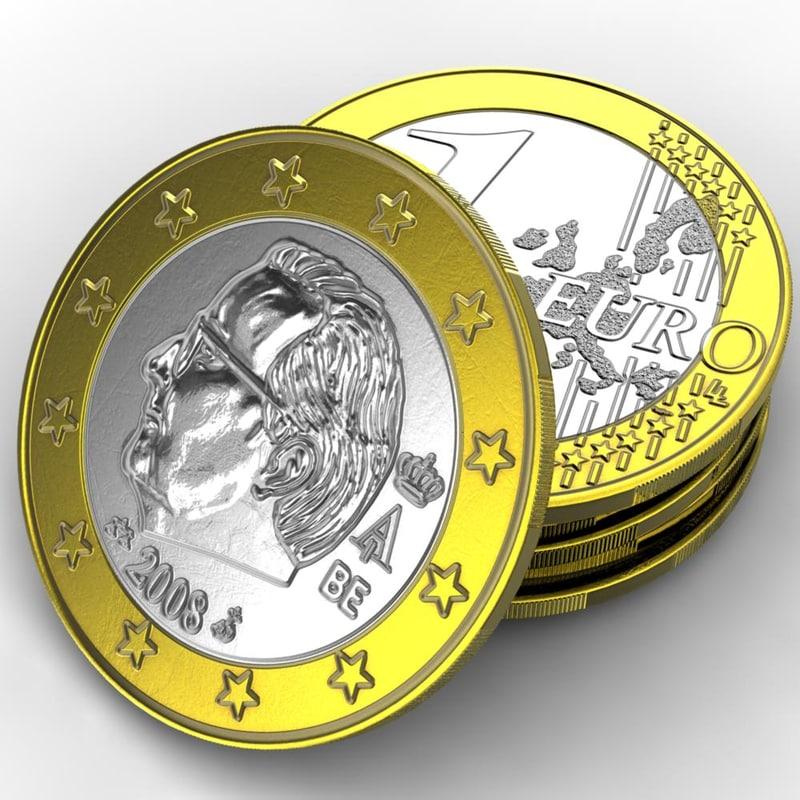 coin europe 1 euro 3d max