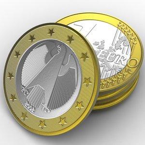 coin 1 euro 3d model