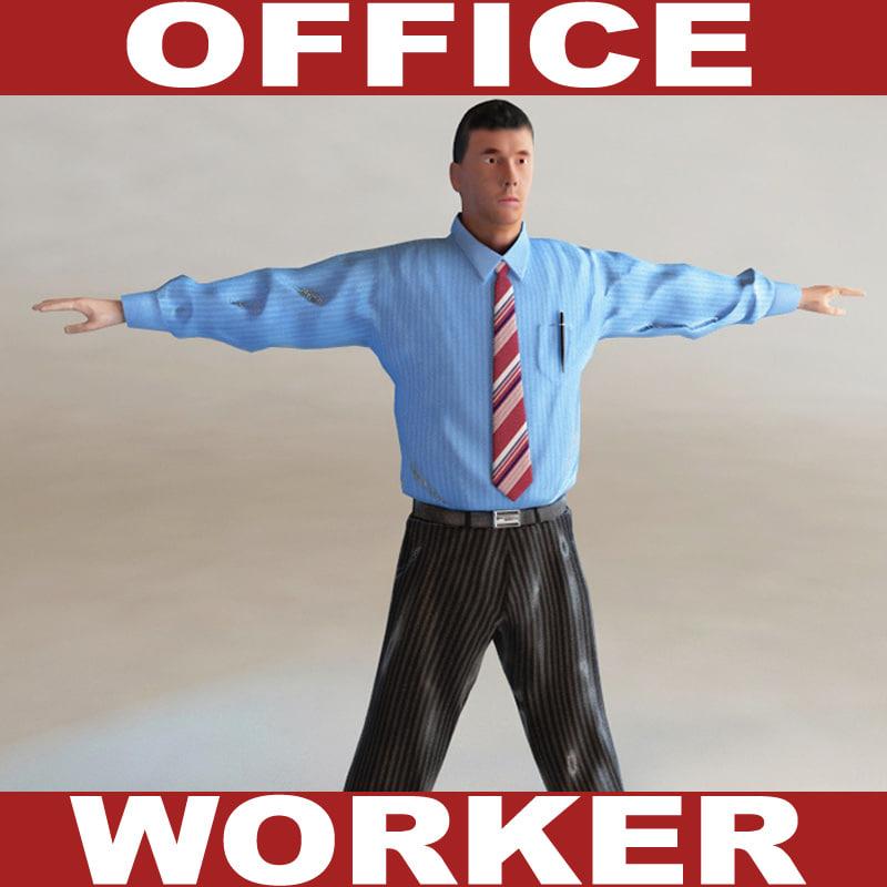 office worker c4d