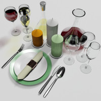 PLATE_FORK_SPOON_KNIFE_NAPKIN_GLASS_CANDLE_DECANTER