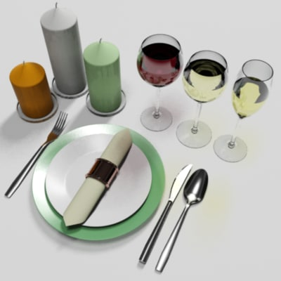 fork spoon knife 3d max