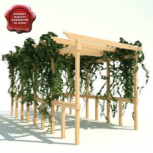 pergola path ivy 3d model