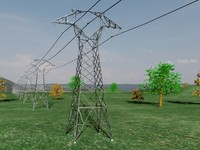 tension power pylon line 3d model