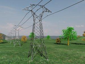 tension power pylon line 3d model