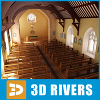 protestant church interior 3d obj
