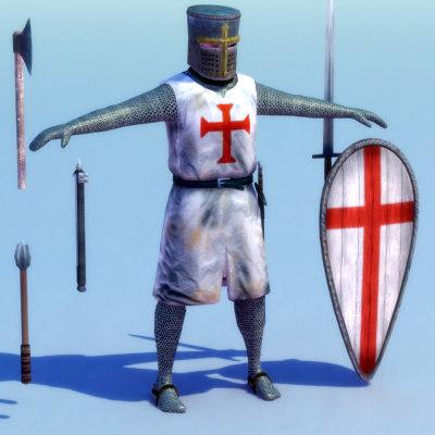 crusader knight templar 3d model
