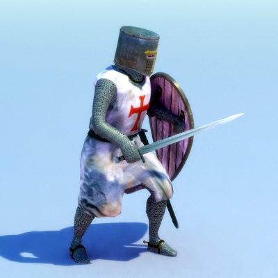 rigged knight templar 3d max
