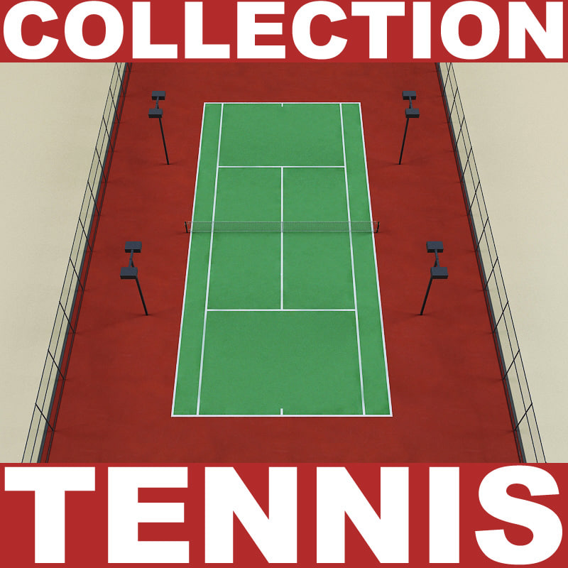tennis set court 3d model