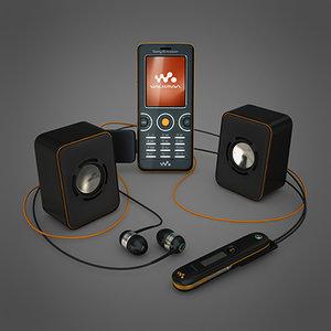 sony ericsson w610i mobile phone 3d max