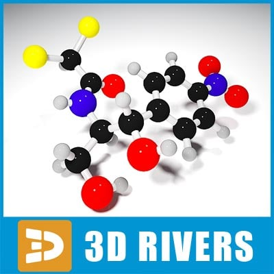 chloramphenicol molecule structure 3d max