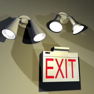 3ds max exit light fixtures 01