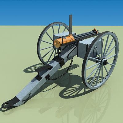 gatling battery gun 3d model