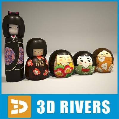 3d kokesi dolls