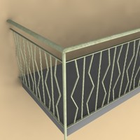 3d wrought steel balcony model