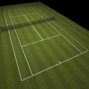 3d tennis lawn court model