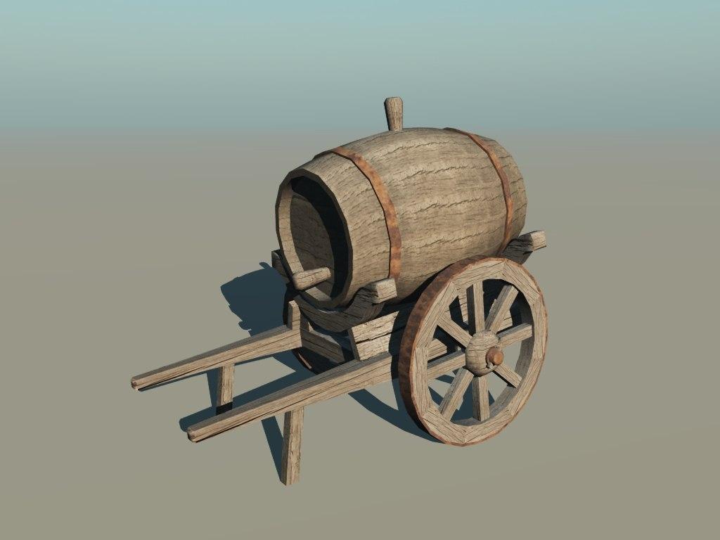 3ds medieval water handcart