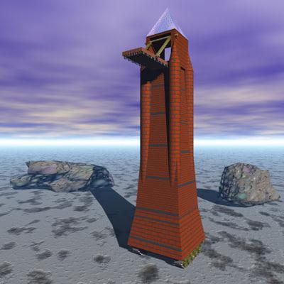 3d model futuristic tower