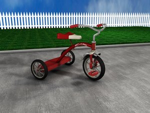 red tricycle 3d c4d