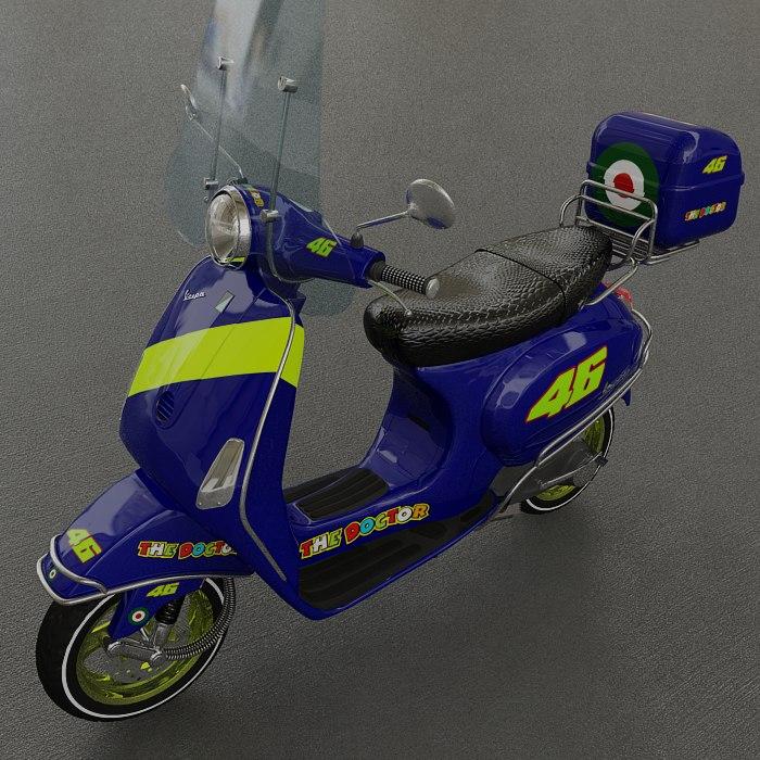 vespa lx50 scooter - 3d model