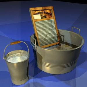 wash tub 01 washtub 3d model