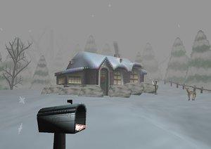 free blend model winter scene