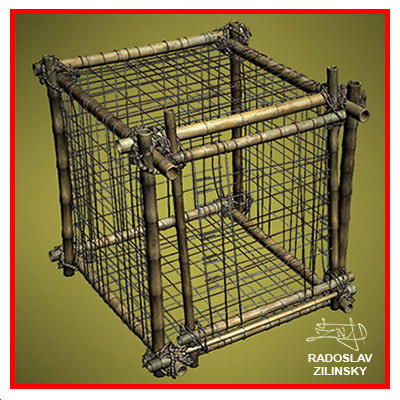 bamboo cages animals 3d model