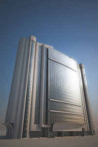 3d glass office building model