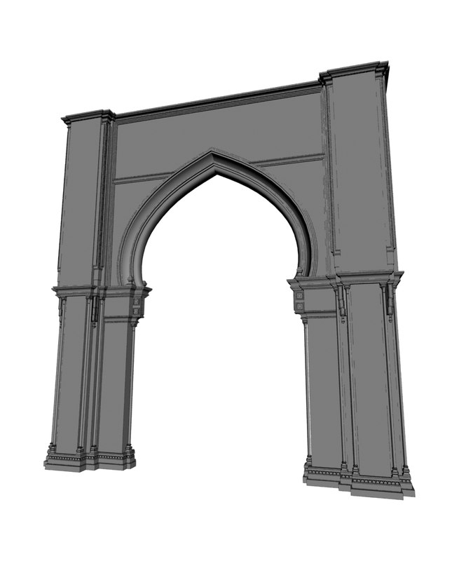 3d model indian arch interior