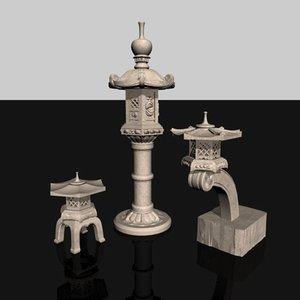 3d model of japanese 3 latern lamp