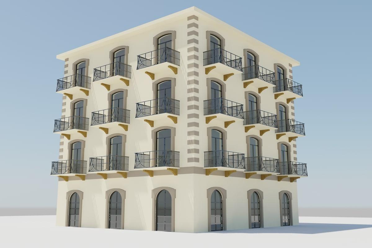 3d rustic spanish building model