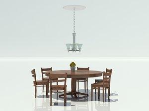 breakfast table chairs obj