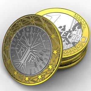 3d coin 1 euro france