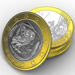 3d coin 1 euro model