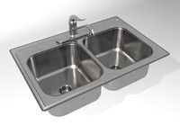 KH004A00  Kitchen Sink Double Bowl 3D MODEL