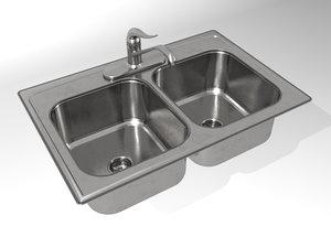 3dsmax sink double bowl