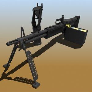 realistic m60 machine gun 3d model