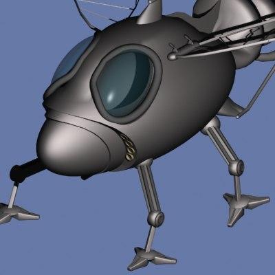 3d cyber space ship moth model