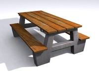 picnic table concrete 3d max