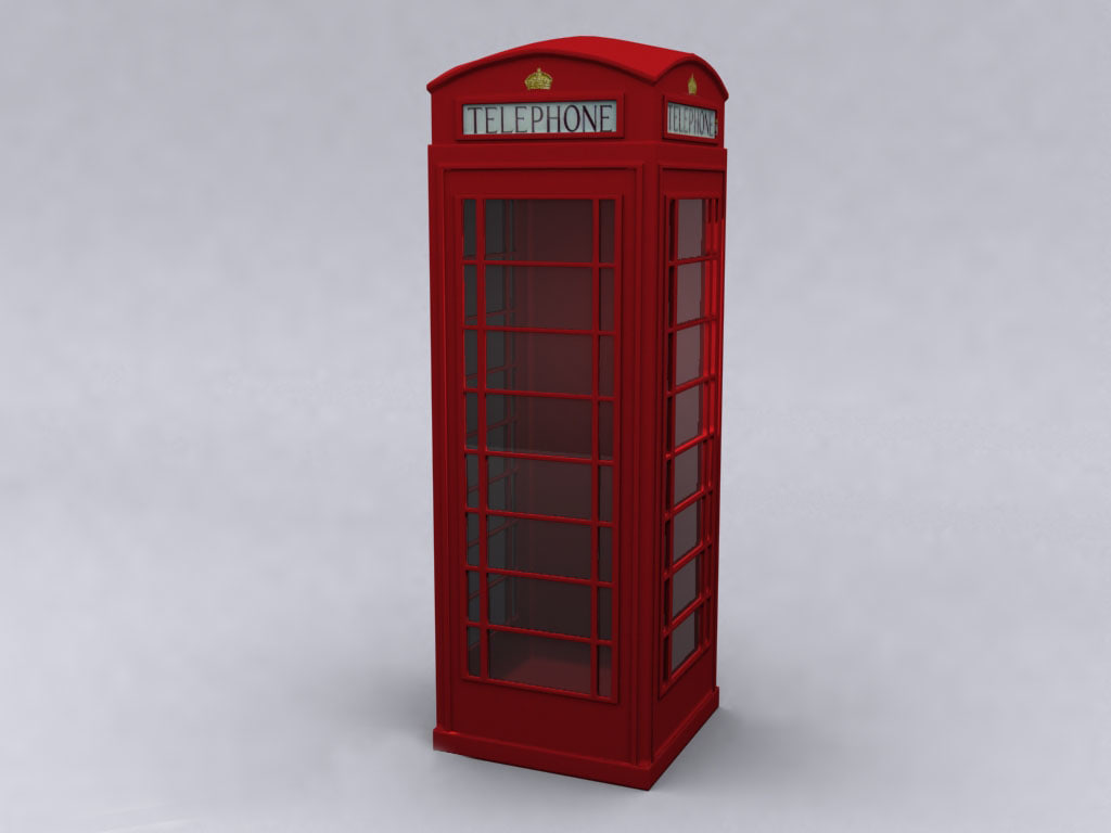 3ds max english phone booth hi-poly