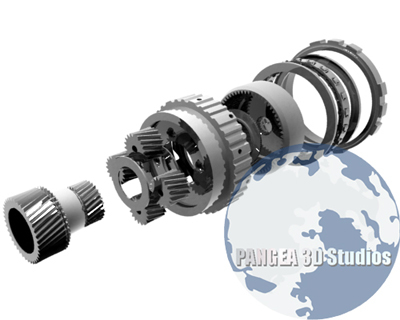 3d rear planetary gears transmission