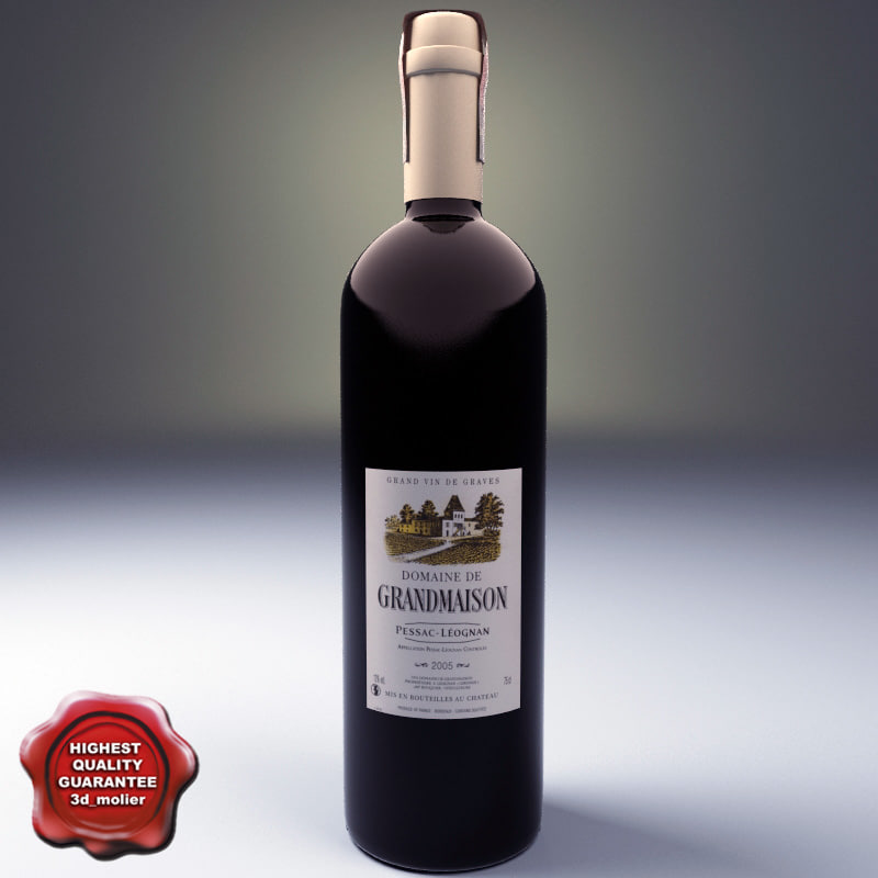 3ds wine bottle dom grandmaison