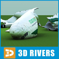 3d model of crashed airbus-a380 plane